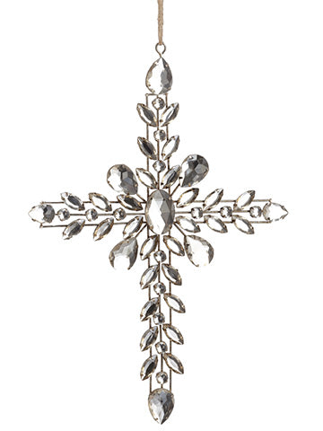 "9.5"" Rhinestone Cross Ornament Antique Silver (pack of 8)"