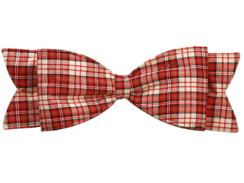 "24"" Plaid Bow Ornament  Red White (pack of 24)"
