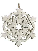 "6"" Snowflake Ornament  Whitewashed (pack of 6)"
