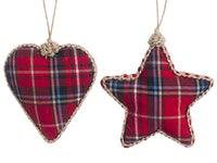 "4.25""-5"" Plaid Heart/Star Ornament (2 Ea/set) Red Beige (pack of 3)"