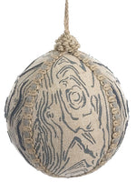 "4.5"" Bark Print Ball Ornament  Beige Blue (pack of 3)"
