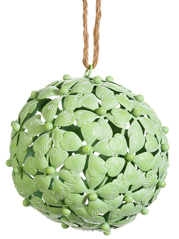 "6.5"" Metal Flower Ball Ornament Green (pack of 6)"