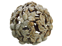 "6.5"" Ball Ornament  Cream Rust (pack of 4)"