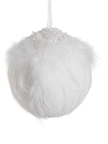 "4"" Beaded Feather Ball Ornament White (pack of 12)"
