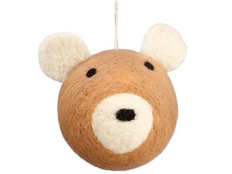 "4.5"" Bear Ornament  Brown (pack of 6)"