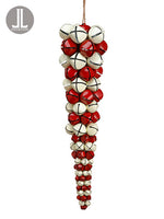"20"" Bell Icicle Drop Ornament  Red White (pack of 2)"
