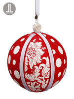 "6"" Polka Dot/Damask Ball Ornament Red White (pack of 6)"