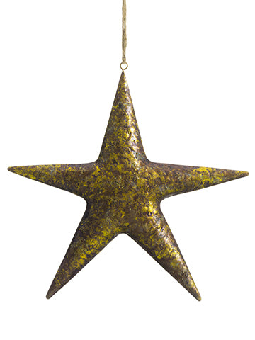 "10.5"" Metal Star Ornament  Antique Gold (pack of 12)"