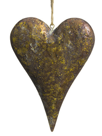 "10.25"" Metal Heart Ornament  Antique Gold (pack of 12)"