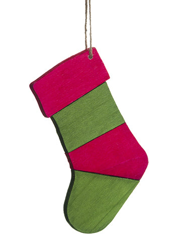 "6.5"" Wood Stocking Ornament  Red Green (pack of 24)"