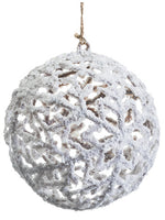 "6"" Snowed Ball Ornament  White (pack of 12)"
