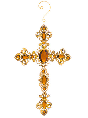 "6.9""H X 4.5""W Rhinestone Filigree Cross Ornament Copper Gold (pack of 48)"