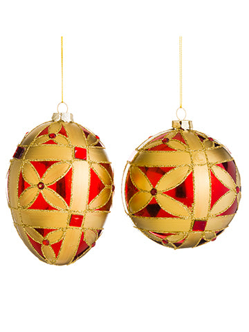 "4""-5"" Glittered Ball/Finial Ornament (2 ea/set) Red Gold (pack of 6)"