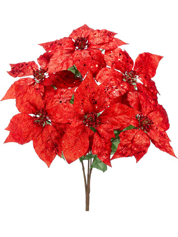 "25"" Glittered Poinsettia Bush x6 Red (pack of 6)"