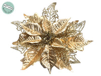 "9.5"" Glittered Metallic Poinsettia With Clip Gold (pack of 24)"