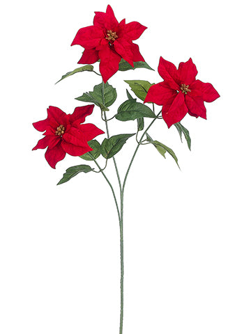 "25"" Mini Velvet Poinsettia Spray Red (pack of 12)"