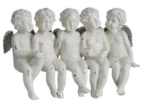 "7.5""Hx12""W Five Sitting Angels Cream Silver (pack of 2)"