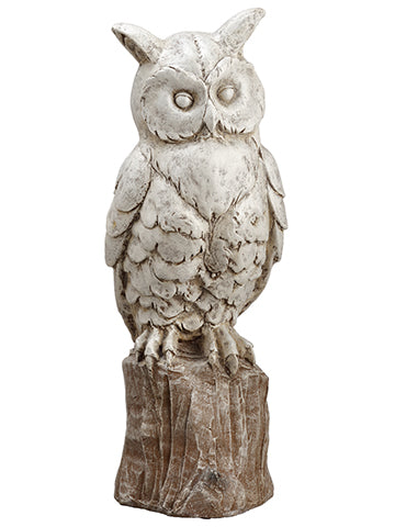 "23.5"" Glittered Owl  White Brown (pack of 1)"