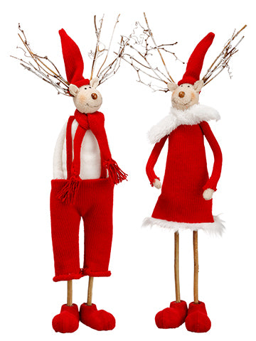 "18""-19"" Mr. & Mrs. Reindeer (2 Ea/set) Red White (pack of 1)"