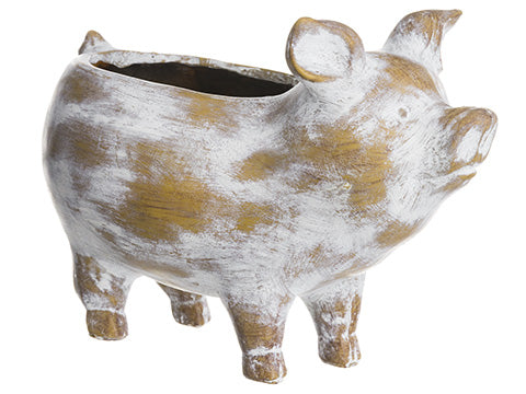 "7.5""Hx11""L Pig Planter  Whitewashed (pack of 2)"