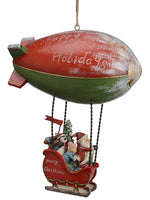 "11"" Santa Hanging Airplane Hot Ballon Red Green (pack of 1)"