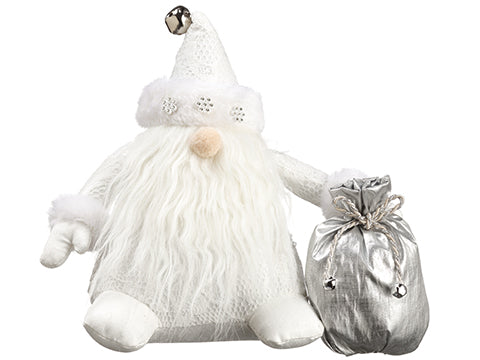 "9"" Santa With Gift Bag  White Silver (pack of 6)"