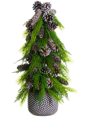 "27"" Pine Cone/Pine Cone Topiary in Terra Cotta Pot Brown Green (pack of 1)"