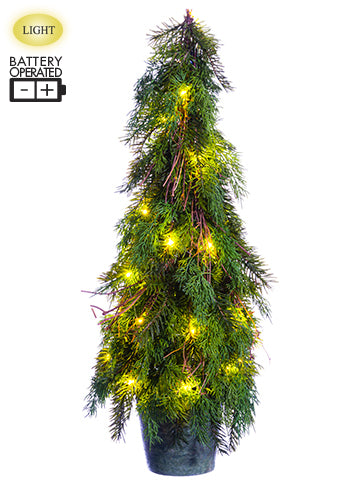 "30"" Battery Operated Cedar/ Pine Topiary Tree With 30 LED Light in Paper Mache Pot Two T (pack of 1)"