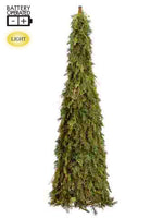 5' Battery Operated Cedar /Pine Topiary Tree With 120 LED Light Two Tone Green (pack of 1)
