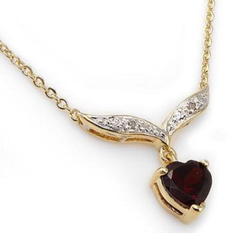 Beautiful 2.97 CT18K Gold Layered Red Garnet & Diamond Designer Heart Necklace