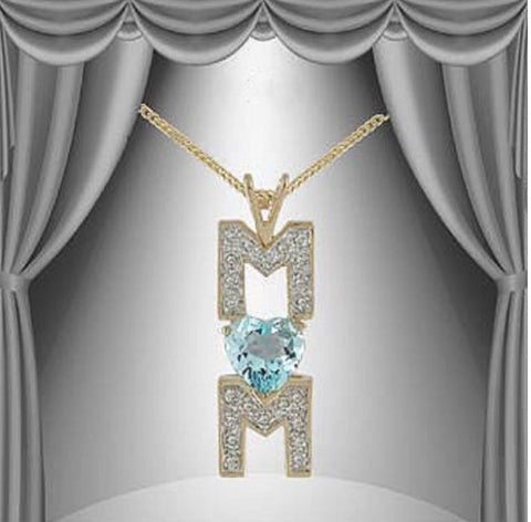 "Mother's Day, Beautiful Letter ""M"" & Heart Blue Topaz & Diamond Pendant 3.62CT"