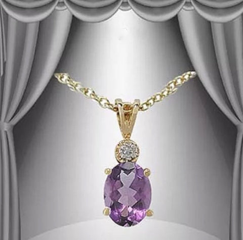 Beautiful 2.19CT18K Gold Layered Amethyst & Diamond Designer Necklace