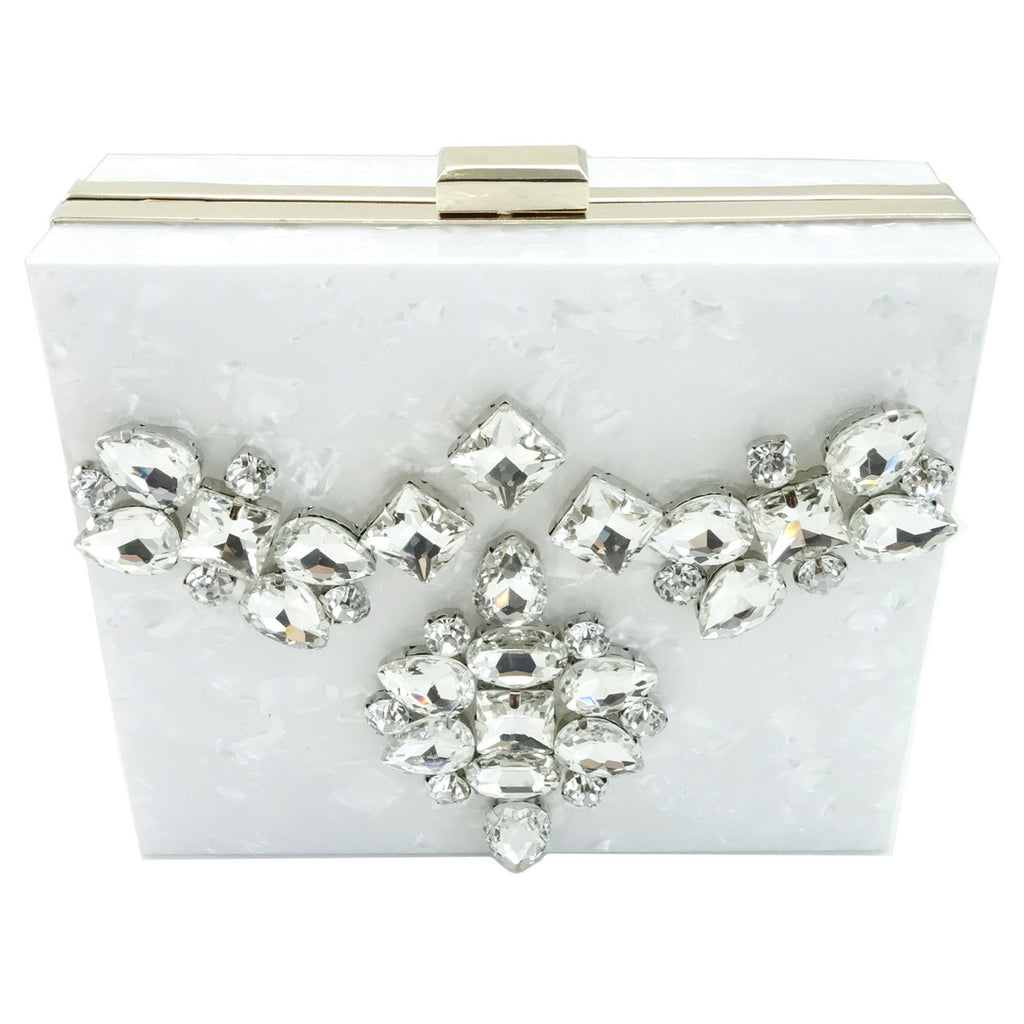 White Marbled Lucite Bejeweled Clutch