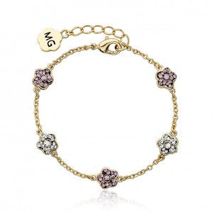 FLOWERY GLITZ Alternating Crystal Flower Chain Bracelet