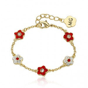 FLOWERY GLITZ Alternating Red Crystal Flower Chain Bracelet