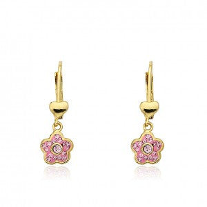 FLOWERY GLITZ Pink Flower Dangle Leverback Earring