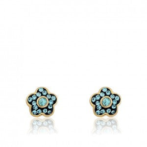 FLOWERY GLITZ Flower Stud Earring Accented With Aqua Crystals