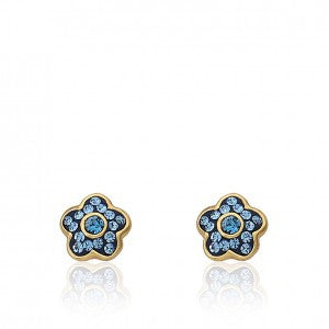 FLOWERY GLITZ Blue Flower Stud Earring Accented With Crystals