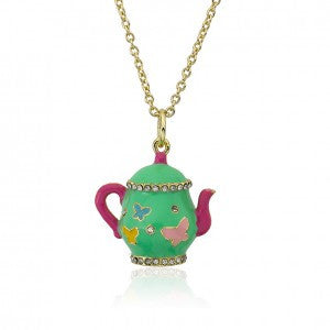 Mint Green Tea Pot Necklace