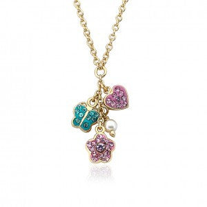 Crystal Heart, Butterfly & Flower Cluster Chain Necklace