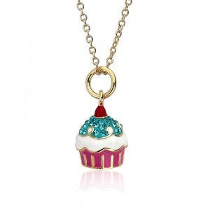 Sparkle sweet aqua Cherry top cupcake necklace