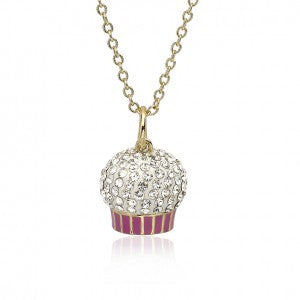 Sparkle Sweet Crystal Top Cupcake Pendant Necklace