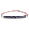 Rose Gold Plated Sterling Silver Black Tube Bracelet