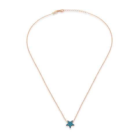 Star Necklace (Nano Turquoise CZ Stones)