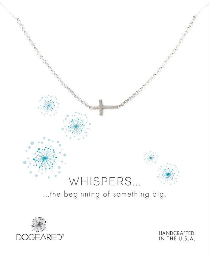 Whispers sideways cross necklace, Sterling Silver