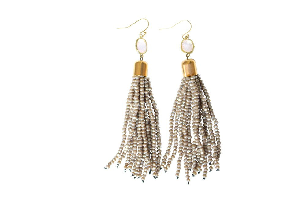 Party Tassel Earrings in Taupe