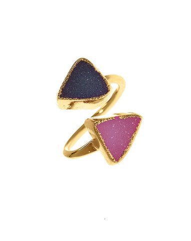 Double Gemstone Druzy Adjustable Ring.