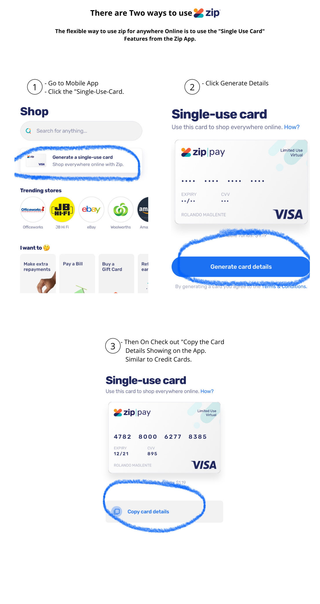 how to use zip using single use card
