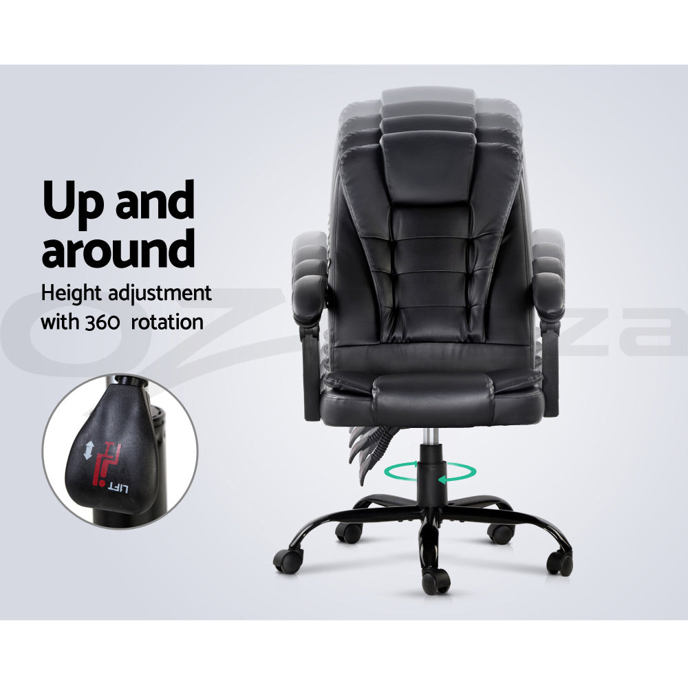 Artiss Massage Gaming Office Chair PU Leather Recliner Computer Chairs Seating 150° Recliner / USB Connection / Retractable Footrest.