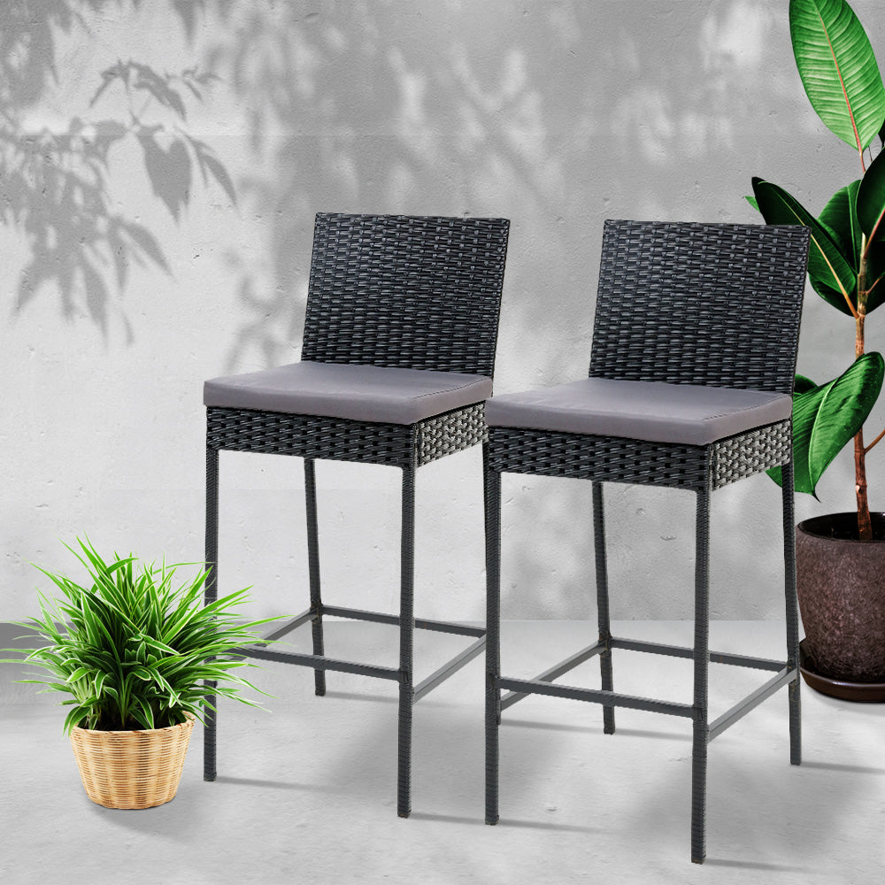 Gardeon Outdoor Bar Stools Dining Chairs Rattan Furniture X2.
